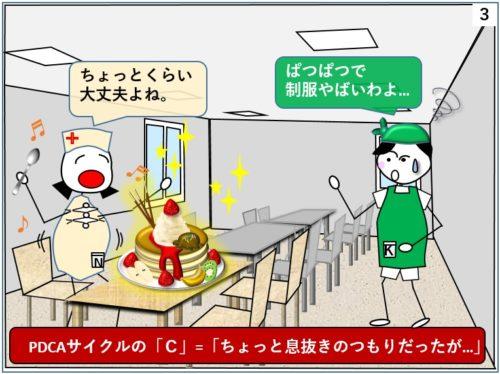太ってしまった看護師がダイエットの合間に間食するイラスト