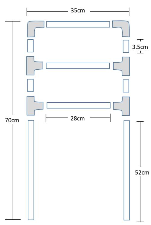 車いす用ヘッドレストの設計図