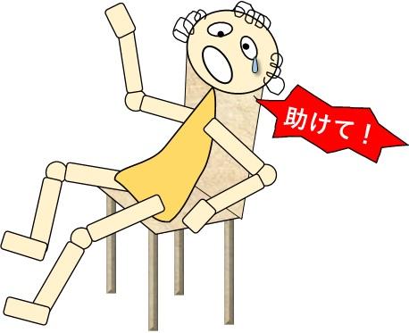 車椅子上、お尻がずっこけて助けを呼ぶ
