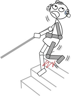 階段を健側から降りて患側が膝折れ