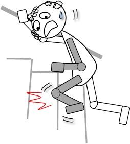 階段を患側から登って膝折れ