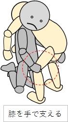 移乗介助 肩に乗せて膝を押さえる