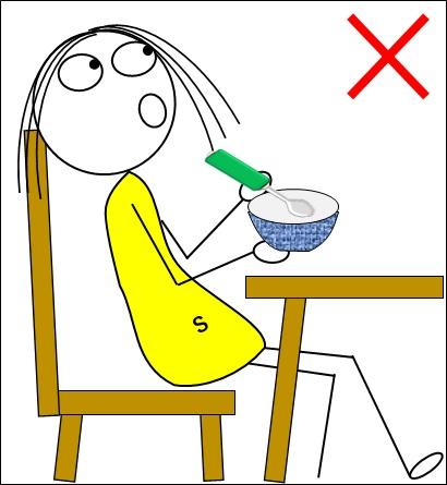 食事姿勢がずっこけ座りで良くないイラスト