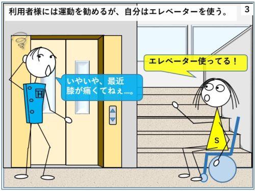 利用者には運動を勧めるが自分はエレベーターを使う