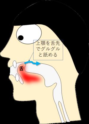 パタカラ「ら」舌の先で上顎を舐める練習