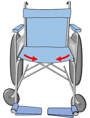 車いすの座面がたわんでいるイラスト