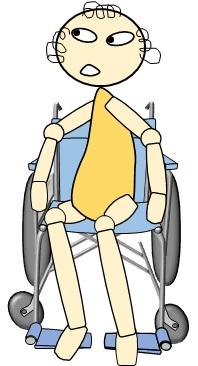 車いす上、骨盤の向きによって足の倒れ具合が変化するイラスト