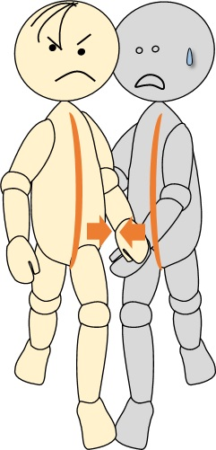 同じ方の足を出さないと歩きにくい歩行介助2