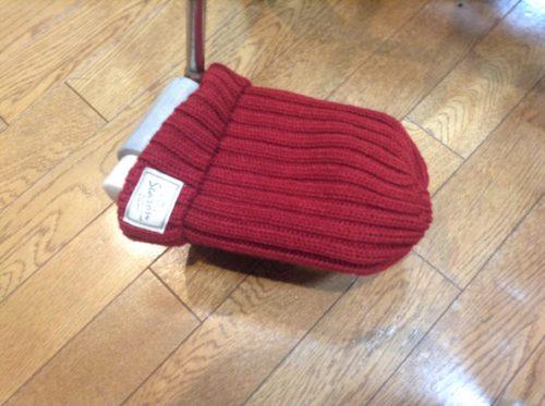 車椅子フットレスト、ニット帽を被せる