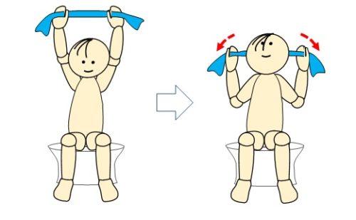 ダイソー活用術(44) ~タオル de 肩甲骨体操~ - 4コマ漫画で考えるリハビリ脳の作り方