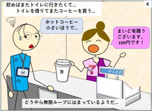 延ばトイレに行きたくなりトイレを借りてコーヒーを買うという悪循環