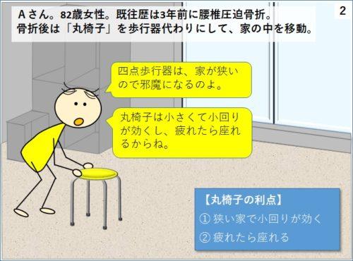 丸椅子を歩行器代わりに使う人